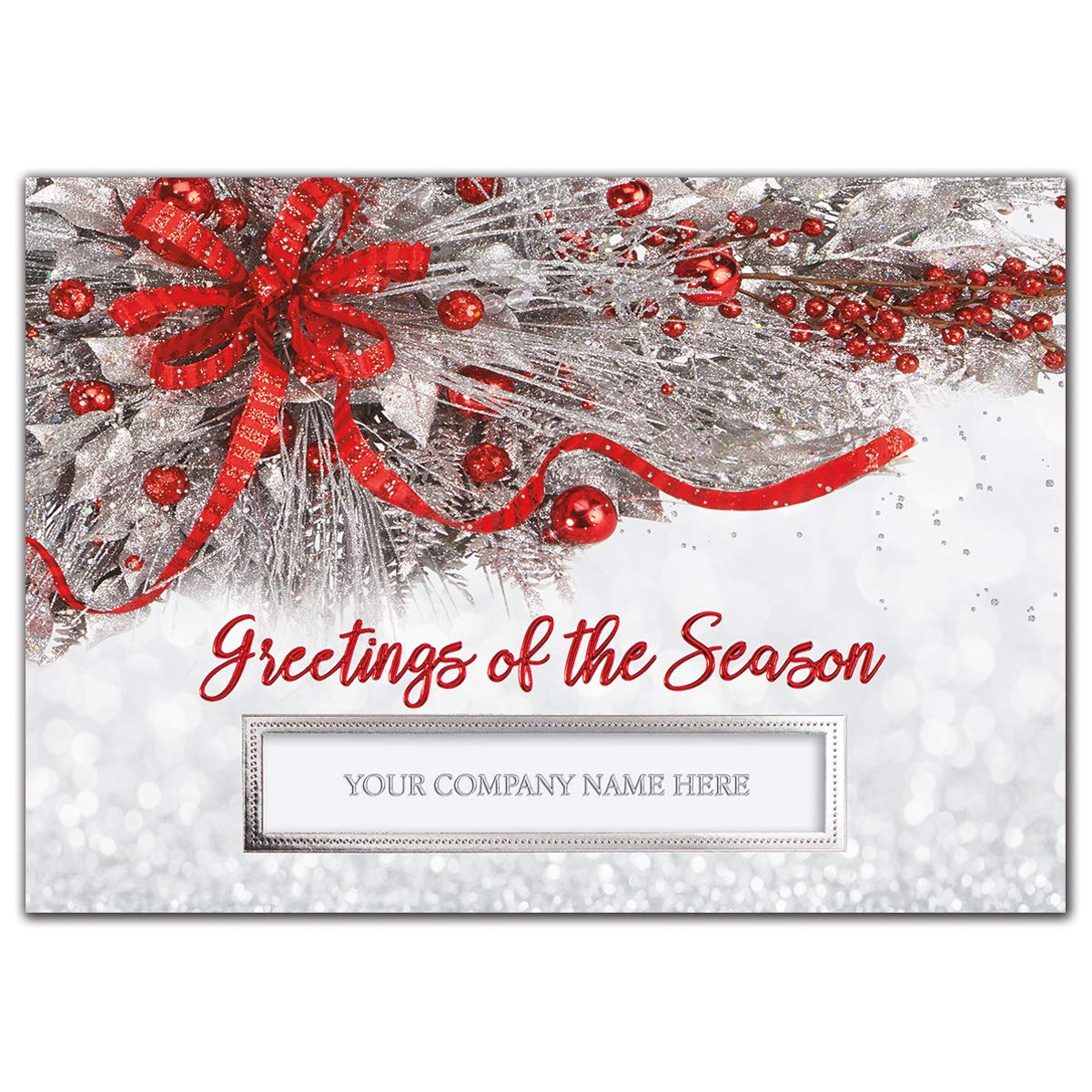 CheckSimple Custom - Silver Frost Business Holiday Cards (25 Custom Cards & Envelopes) by CheckSimple
