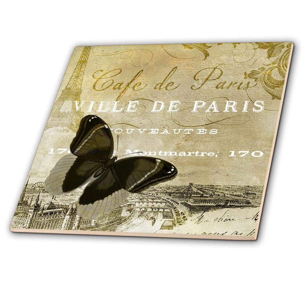 8 8-inch ct/_164525/_3 Ceramic Tile 3dRose 3D Rose Caf/é de Paris Vintage Butterfly Chic Art