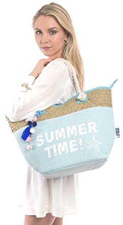 Amazon.com | Beach Bag By Pier 17 - Extra Large Straw Beach Tote ...