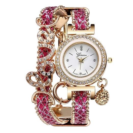 Relojes Mujer,❤LMMVP❤Amante de la mujer de moda de multilaminate rhinestone banda