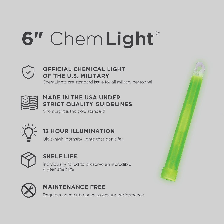 """Lot 6 Cyalume Military Grade Chemical Light Sticks Green 6/"""" Long 12 HR Prepper"""
