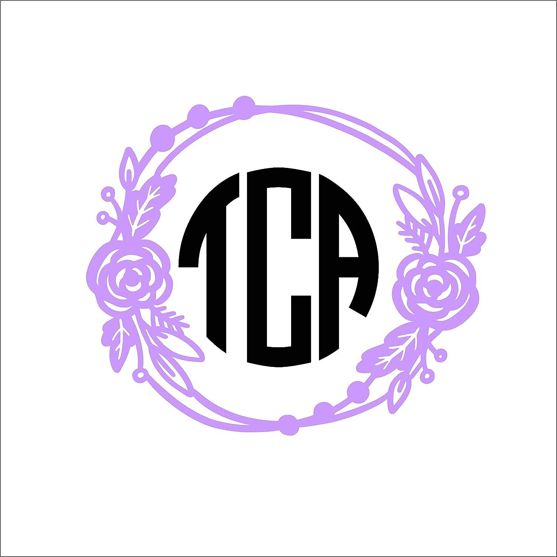 Floral Wreath Monogram Vinyl Die Cut Decal Sticker for Car Laptop etc MGM470