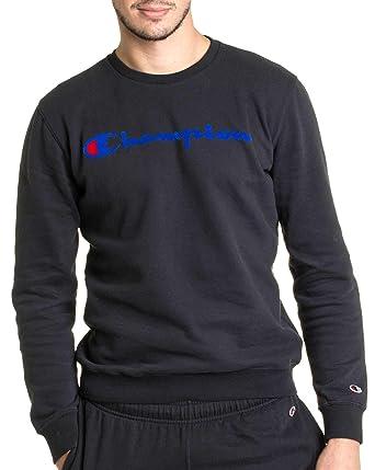 Champion - Sweat col Rond de Marque pour Homme 212428 Noir Impression Bleu  - Couleur  5b78e4cd50b2