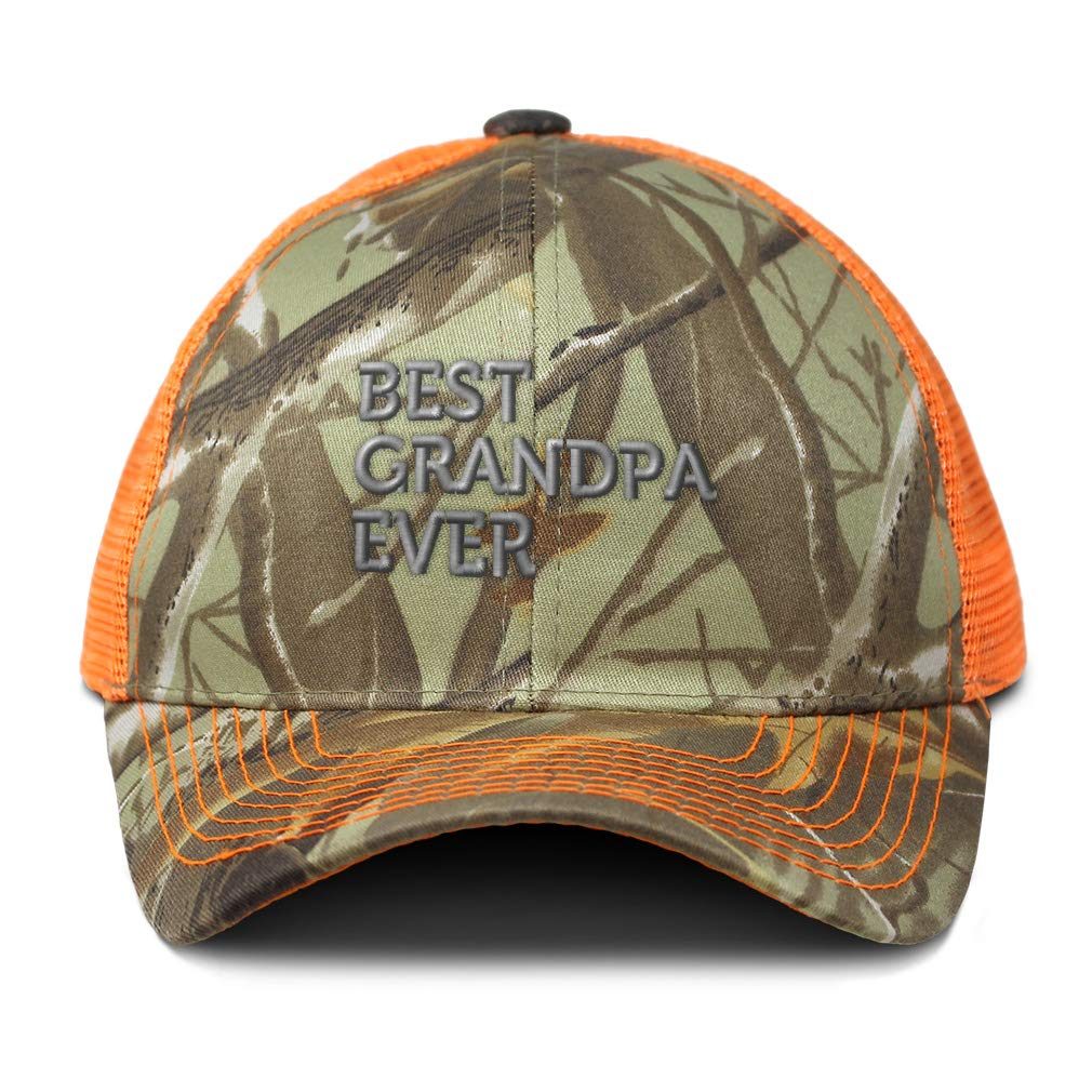 Custom Camo Mesh Trucker Hat Best Grandpa Ever Embroidery Cotton One Size