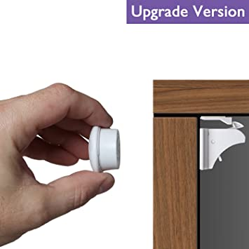 Baby Proofing Magnetic Cabinet Locks BALFER Child Safety No Drilling Lock for Drawer Cupboard Closet /(10 Locks + 2 Keys/)