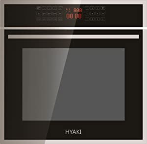"""HYAKI 24"""" Black Tempered Glass LED Digital Touch Controls 12 Cooking Style W/Rotisserie Function Electric Built-In Single Wall Oven HYK-24WOX01"""