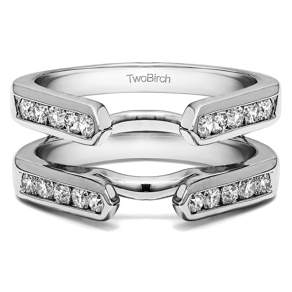 0.7 ct. Diamonds Channel Set Cathedral Style Ring Guard in 10k White Gold (3/4 ct. twt.)