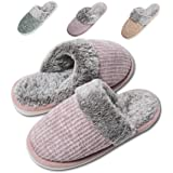 Moregut Comfy Faux Fur Womens House Slippers with Knitted Upper & Cozy Memory Foam - Slip On Anti-Skid Sole Ladies…