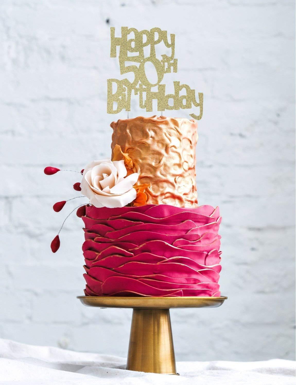 Lissielou Happy 50th Birthday Cake Topper Glitter Gold