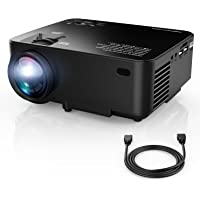 DBPOWER T20 Proyector, Negro, 1500 Lumens LCD Mini Projector, Multimedia Home Theater Video Projector - Support 1080P HDMI USB SD Card VGA AV for Home Cinema TV Laptop Game iPhone Andriod Smartphone (incluye cable HDMI)