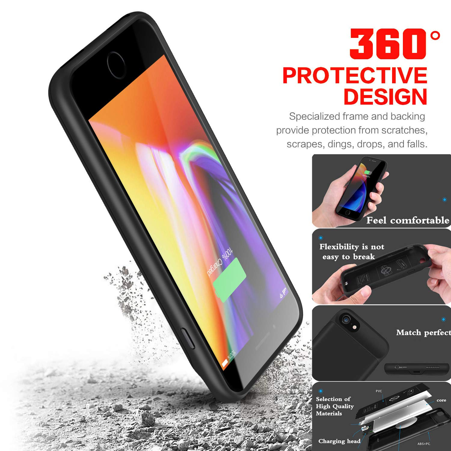 5.5 inch - Black IMRcamera Extended Battery Case for iPhone 7 Plus//8 Plus 4000mAh Protective Charging Case for iPhone 6 Plus//6s Plus Extended Backup Charger