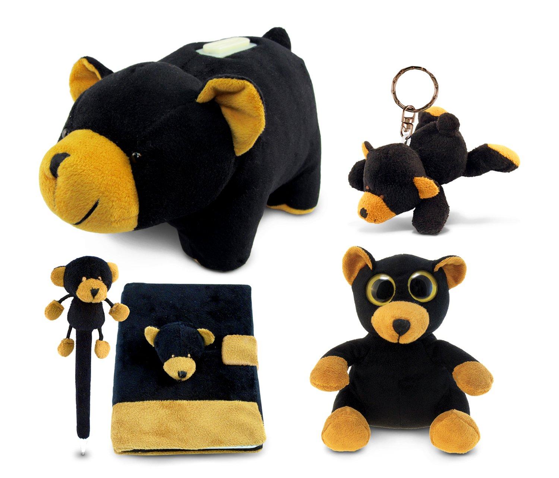 Puzzled oso de peluche negro colección: banco, llavero, Pen, ojos grandes 6 pulgadas y portátil, juego de 5: Amazon.es: Juguetes y juegos
