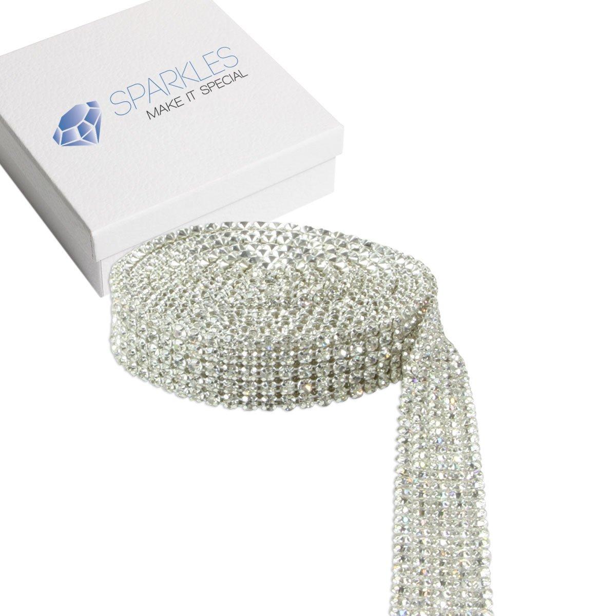Sparkles Make It Special 5 Row Crystal Diamond Genuine SS19 Rhinestone Ribbon Trim - 3 Yards Premium Professional Wedding Cake Banding - Silver by Sparkles Make It Special