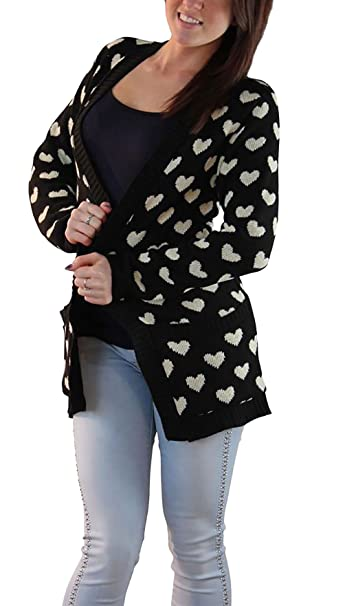 Ladies Open Front Heart Printed Sweater Womens Casual Wear Long Sleeves Cardigan