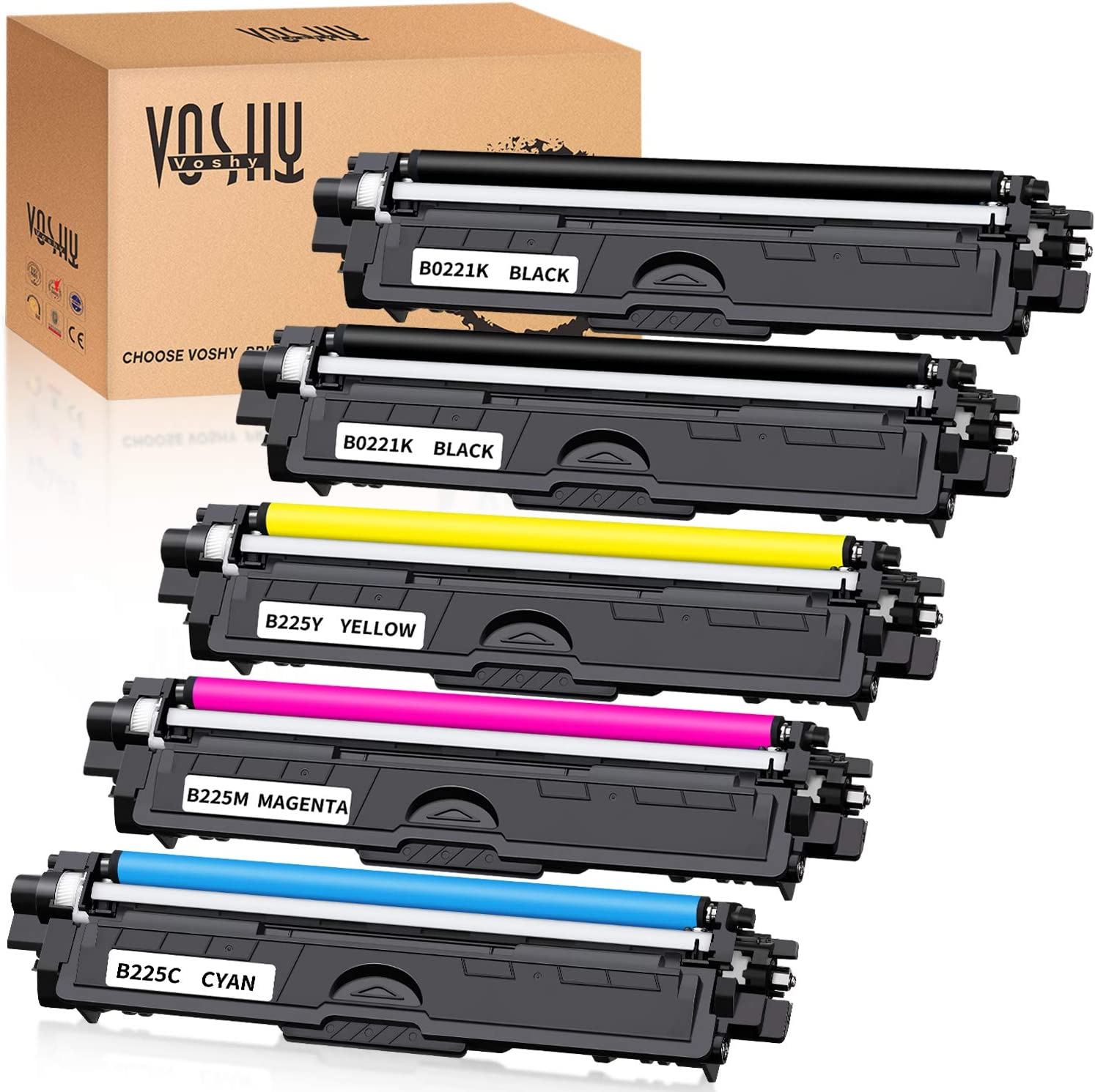 Voshy Compatible Toner Cartridge Replacement for TN221 TN225 TN-221 TN-225 Used to HL-3170CDW MFC-9130CW MFC-9340CDW MFC-9330CDW HL-3140CW HL-3180CDW HL-3150CDW DCP-9020CDN MFC-9140CDN Printer, 5-Pack