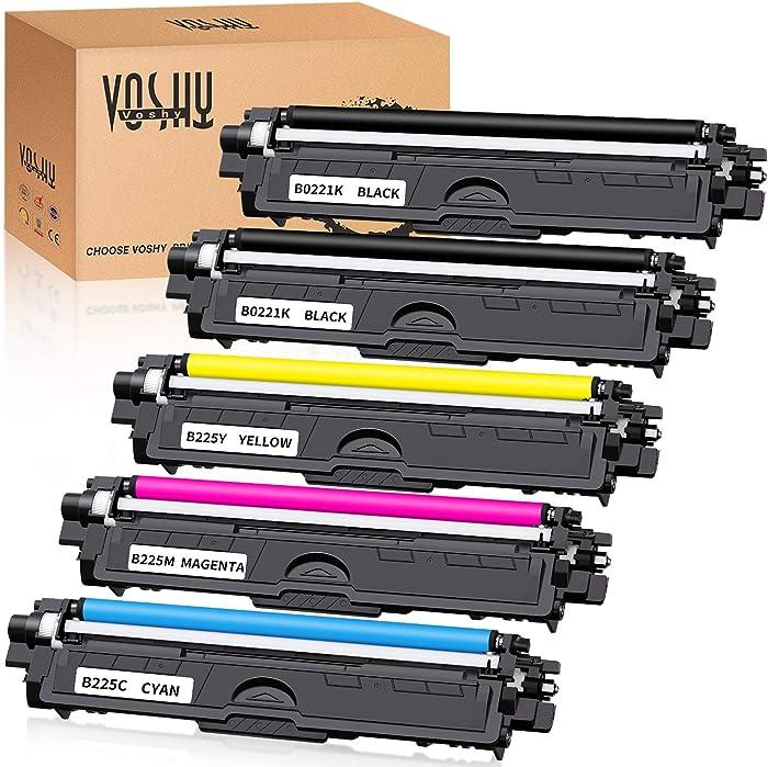 Voshy Compatible Toner Cartridge Replacement for TN221 TN225 TN-221 TN-225 Used to HL-3170CDW MFC-9130CW MFC-9340CDW MFC-9330CDW HL-3140CW HL-3180CDW HL-3150CDW DCP-9020CDN MFC-9140CDN Printer, 5-Pack