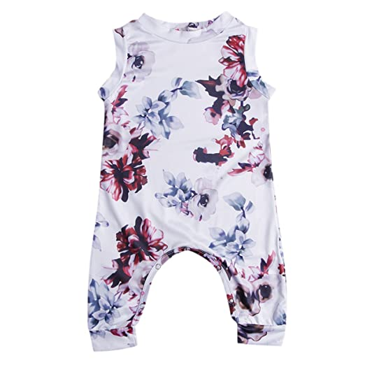 02f2704321b5 Greenafter Newborn Baby Girl Floral Printed Romper Outfits Sleeveless Summer  Bodysuit(0-6M,