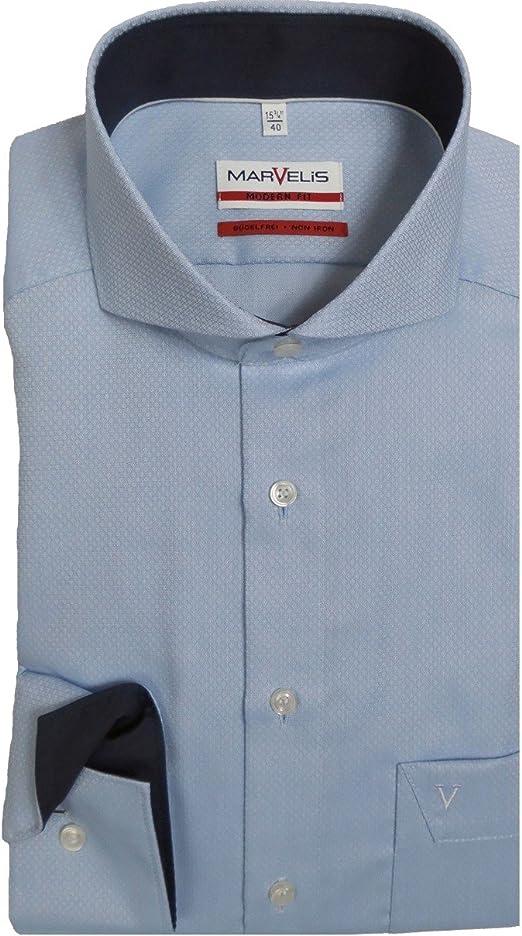 Camisa Marvelis Modern Fit 7246.64.11, cuello de aletas de tiburón, azul claro estampado azul 41: Amazon.es: Ropa y accesorios