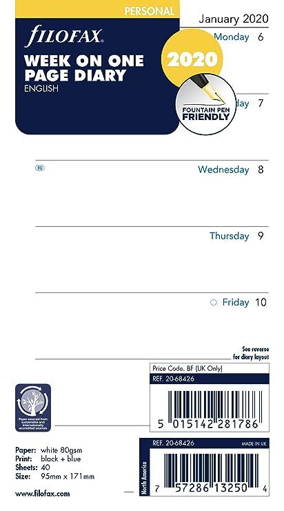 Filofax Personal - Agenda (2020), diseño con texto