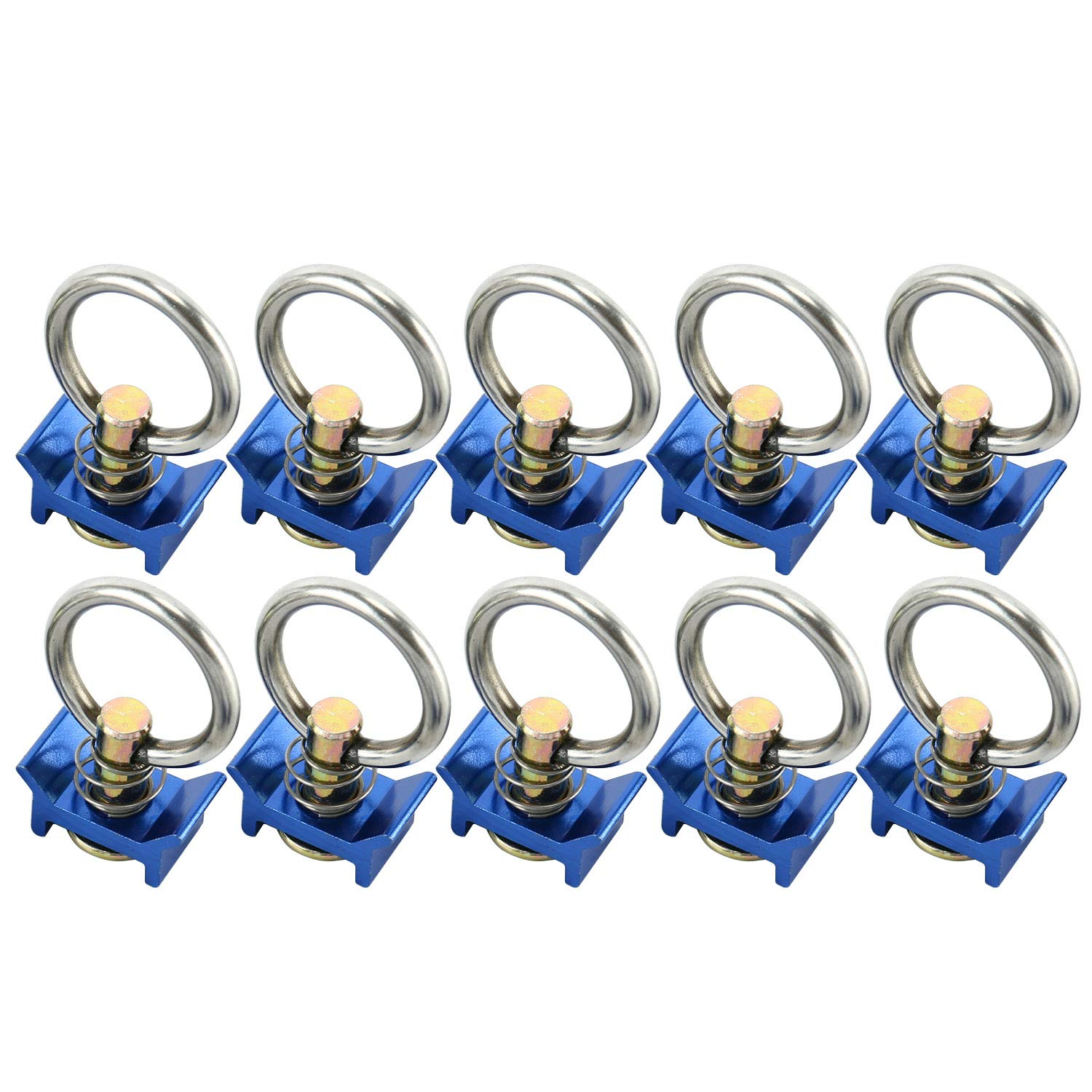 8MILELAKE Single Stud L-Track Fitting with Round Ring 10 Pack