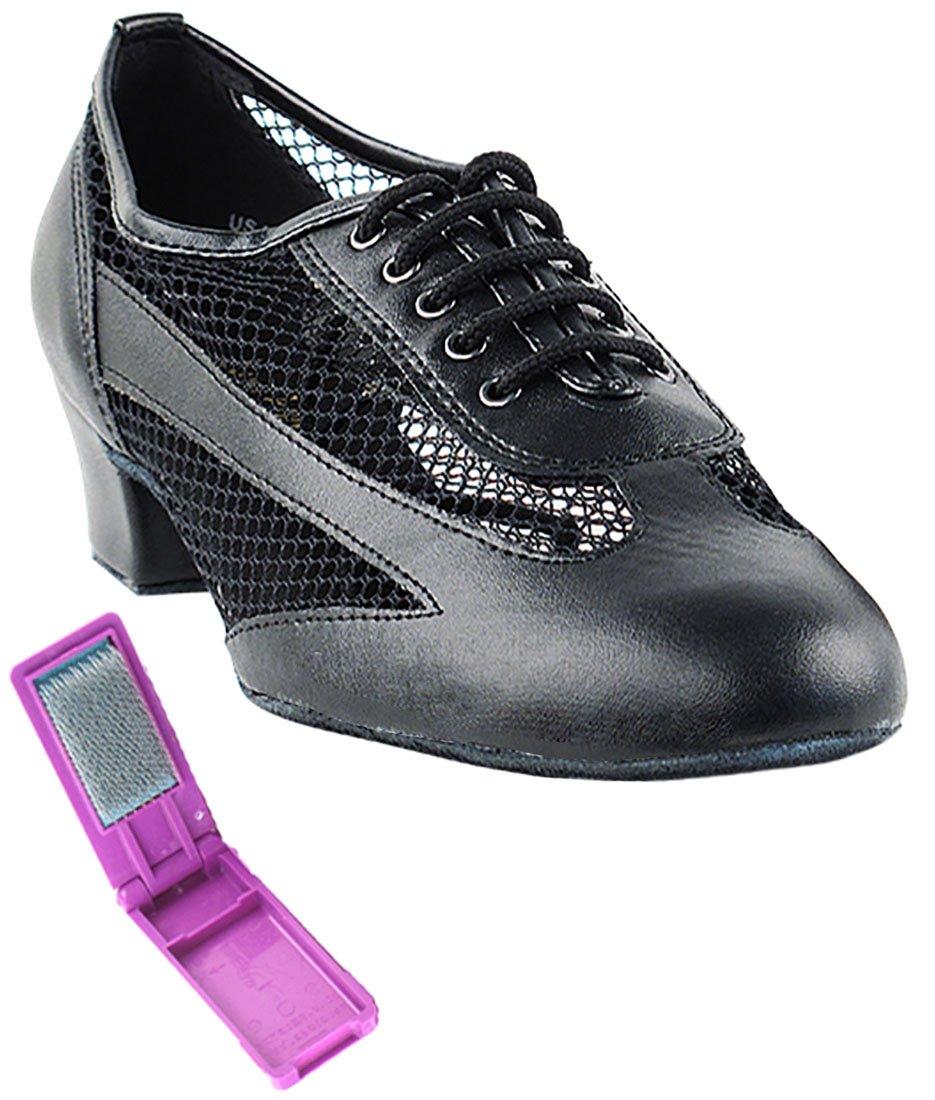 Very Fine Ballroom Latin Tango Salsa Dance Shoes for Women 2009 1.5-inch Heel + Foldable Brush Bundle - Black Leather - 10