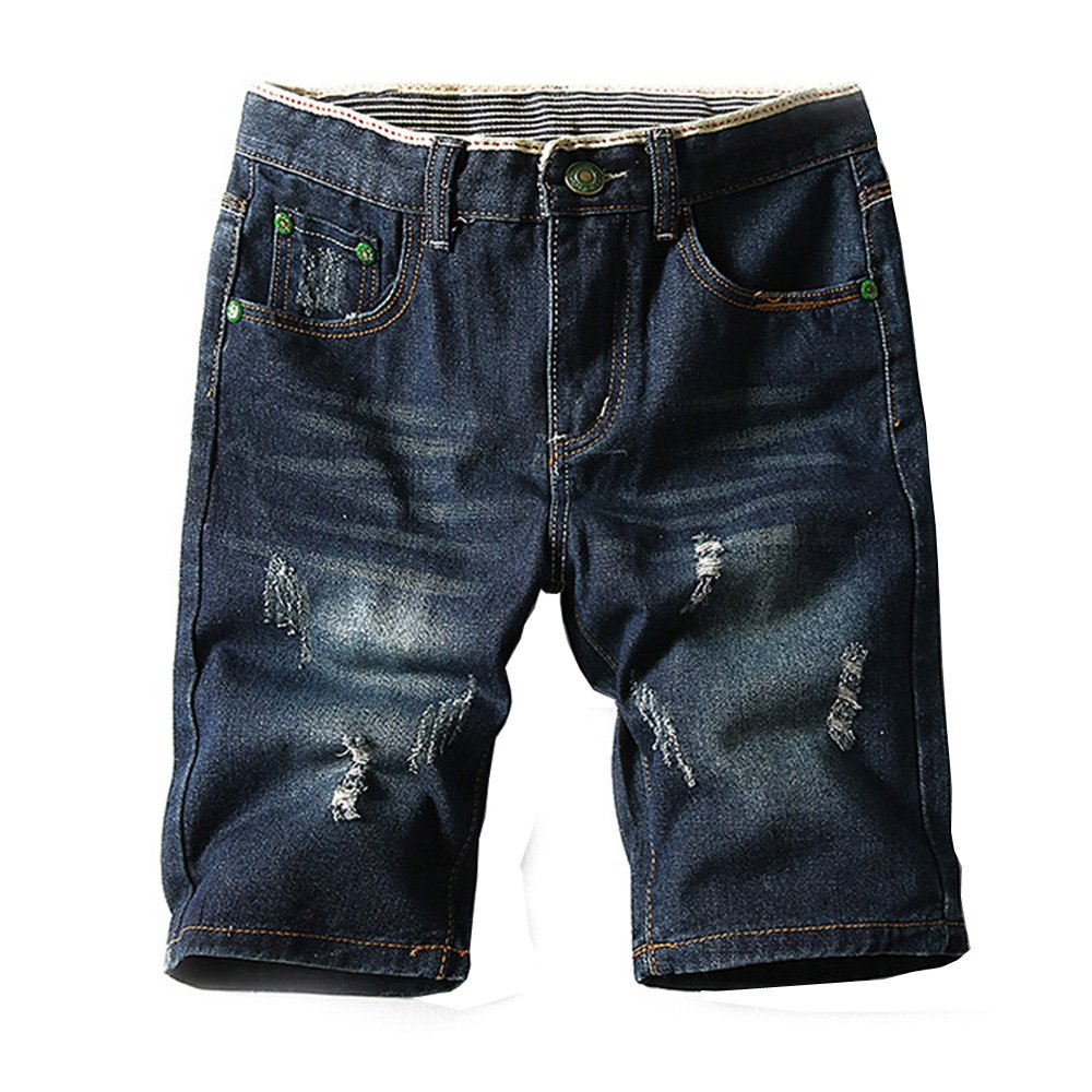 JoofEric Men's Fashion Ditressed Ripped Washed Denim Shorts Jean Shorts