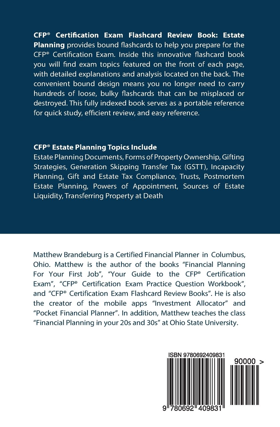 Cfp Certification Exam Flashcard Review Book Estate Planning 4th