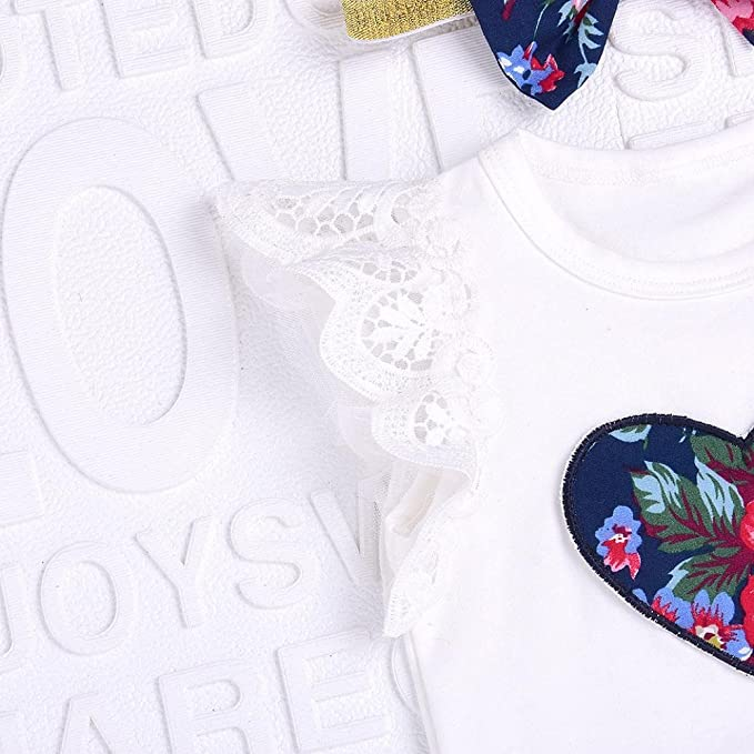 UOMOGO/® Bimbo bambino bambine Neonato Infantile Bambino Ragazza bambino Senza maniche Camicia di chiffon T-shirt Maglietta Shorts 0-24 Mesi