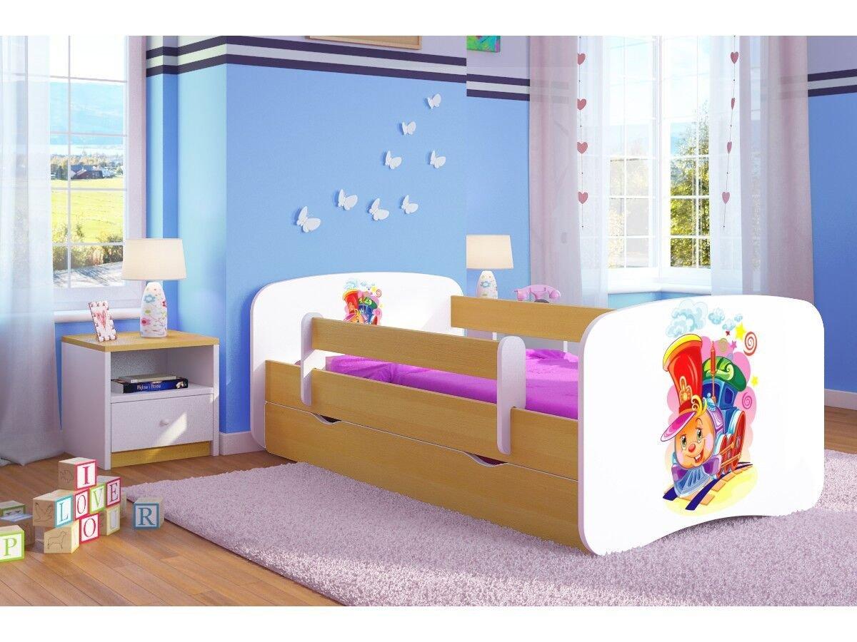 CARELLIA Cama Infantil Ciuchcia 80 cm x 160 cm con Barriere Zapatillas de + somier + cajones Incluye colchón. – Chene Clair