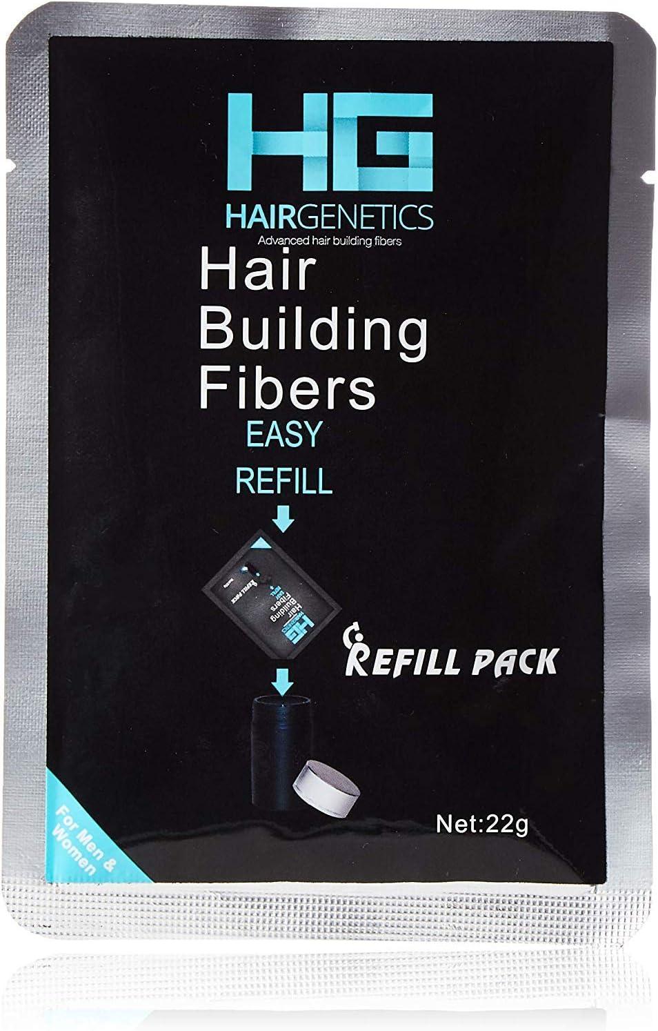Hair Genetics® Fibras Capilares de Queratina para Cabello - Fórmula Avanzada Cero Picores de Calidad Profesional y Aspecto Natural para Hombres y Mujeres con Pelo - Pack Recarga 22 g… (Negro)