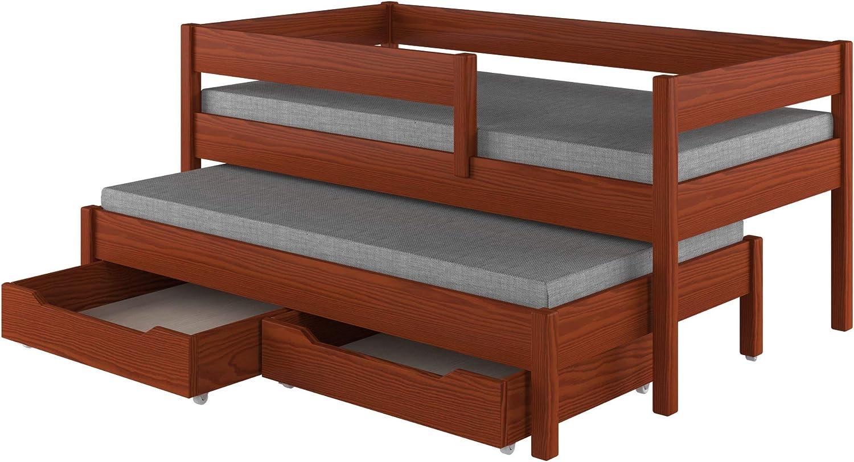 Childrens Beds Home Cama Nido para niños Niños Juniors Colchón Sin cajones y sin colchón Incluido (180x80, Palisander)