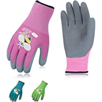 Vgo... 3Pairs Age 3-5 Kids Gardening,Lawning,Working Gloves,Foam Rubber Coated(Size XXXS,3 Colors,KID-RB6013)