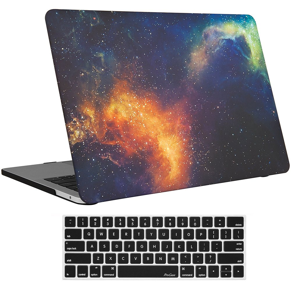 "MacBook Pro 15 Case 2017 & 2016 A1707, ProCase Hard Case Shell Cover and Keyboard Cover for Apple Macbook Pro 15"" (Newest 2017 & 2016 Release) with Touch Bar and Touch ID -Galaxy Fire and Ice"