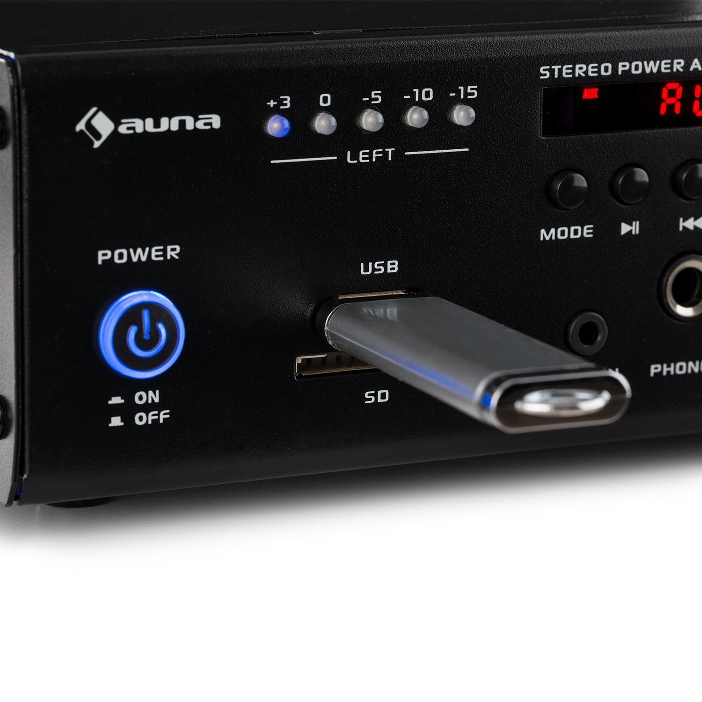 AUNA Amp4 BT Mini-Stereo-Verst/ärker HiFi-Verst/ärker USB-Port LED-Display Fernbedienung SD//MMC-Kartenleser schwarz Bluetooth inkl 2-Band-Equalizer 2 x 25 Watt