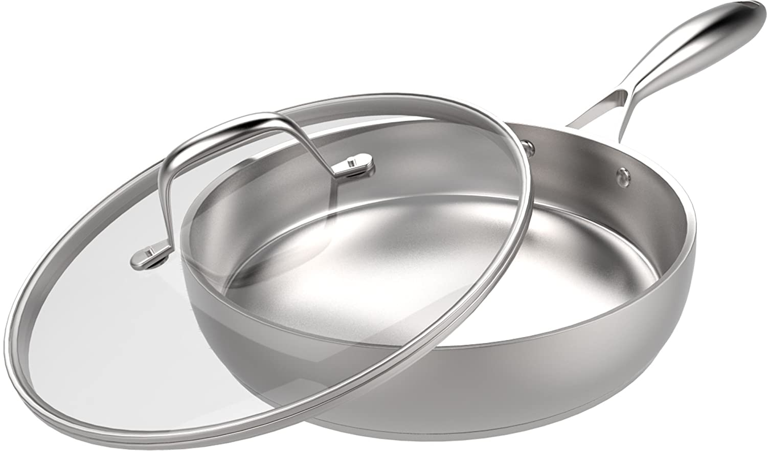 Stainless Steel Skillet with Glass Cover - 12 Inch - Premium Quality - 30 x 6.8 cm - Multipurpose Use for Home Kitchen or Restaurant - Chef's Choice by Utopia Kithcen Utopia Kitchen UK0158