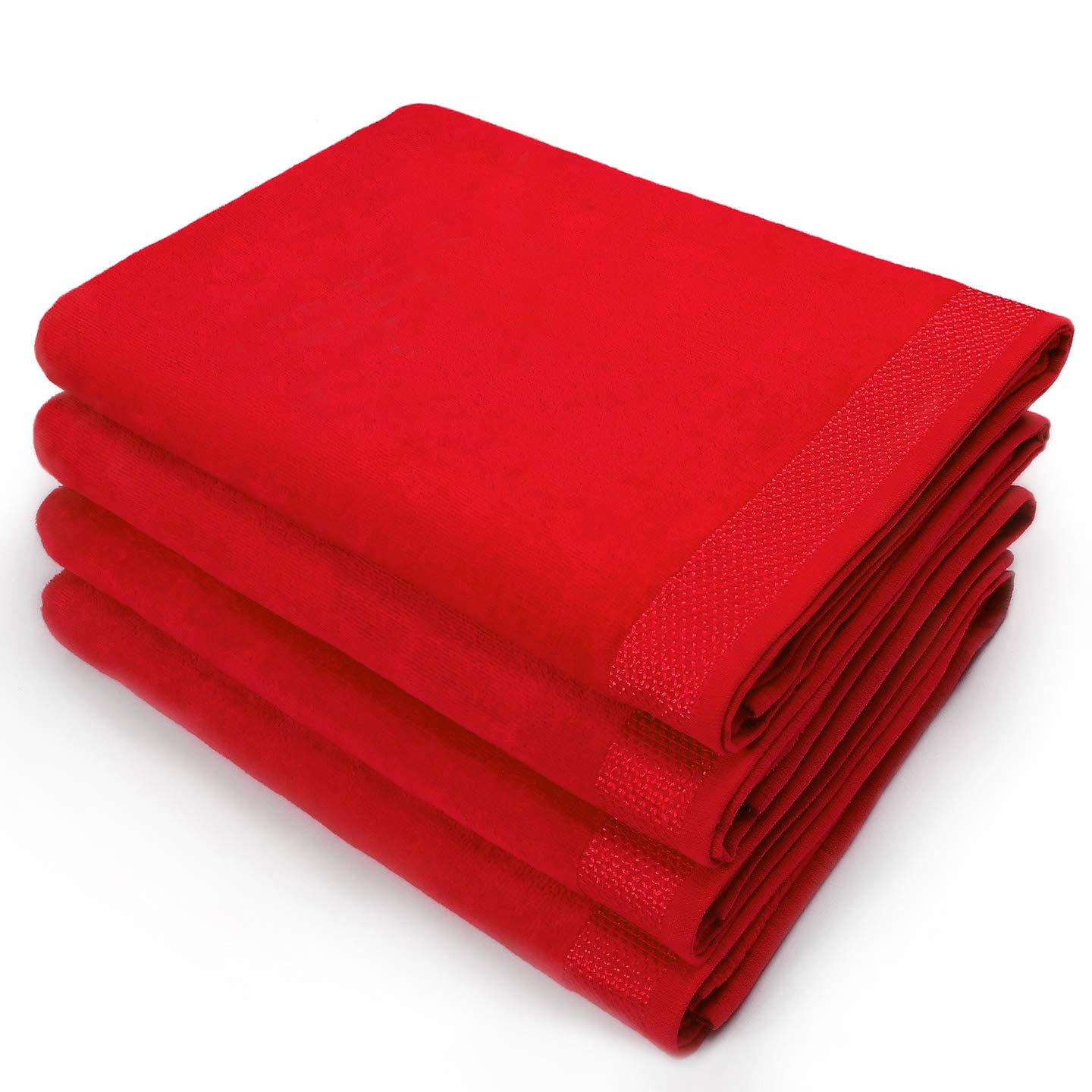 Kaufman - 30 X 60 VELOUR BEACH AND POOL TOWEL 4 PACK (Red)