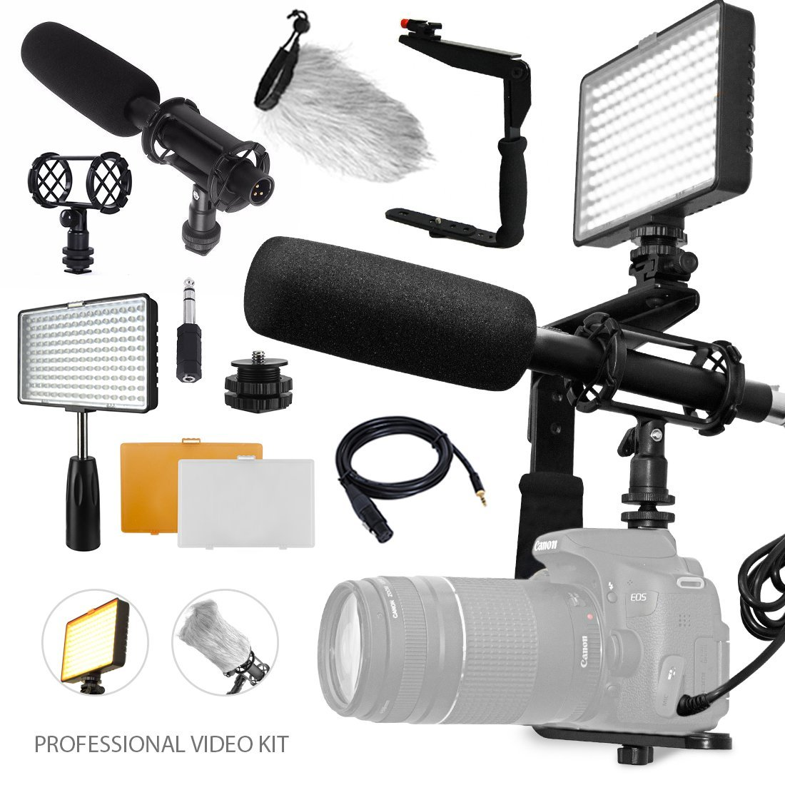 Professional Studio Video 160 LED Light for HD Quality Videography w/Pro Broadcast-Quality Interview Condenser Shotgun Microphone + 180 Degree Quick Flip Rotating Flash Bracket by Photo Savings