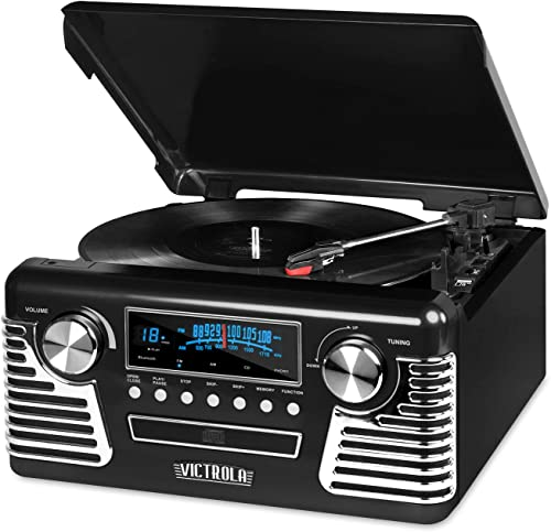Victrola 50 s Retro 3-Speed Bluetooth Turntable with Stereo, CD Player and Speakers, Black