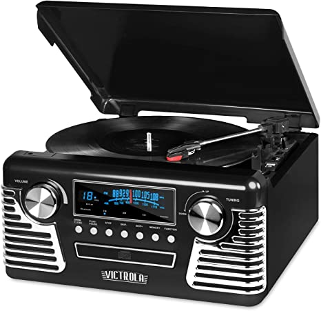 Victrola 50s Retro 3-Speed Bluetooth Turntable with Stereo, CD Player and Speakers, Black