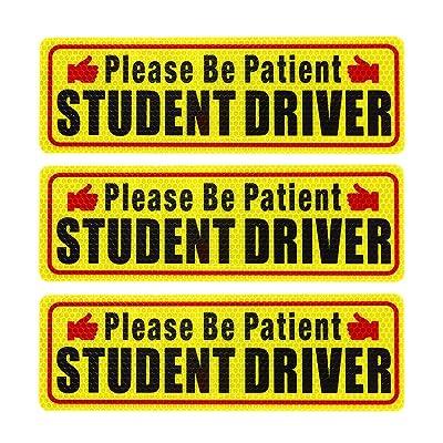Nomiou Student Driver Magnet Safety Sign 3pcs Vehicle Bumper Magnet Car Vehicle Reflective Sign Sticker Bumper for New Drivers: Automotive