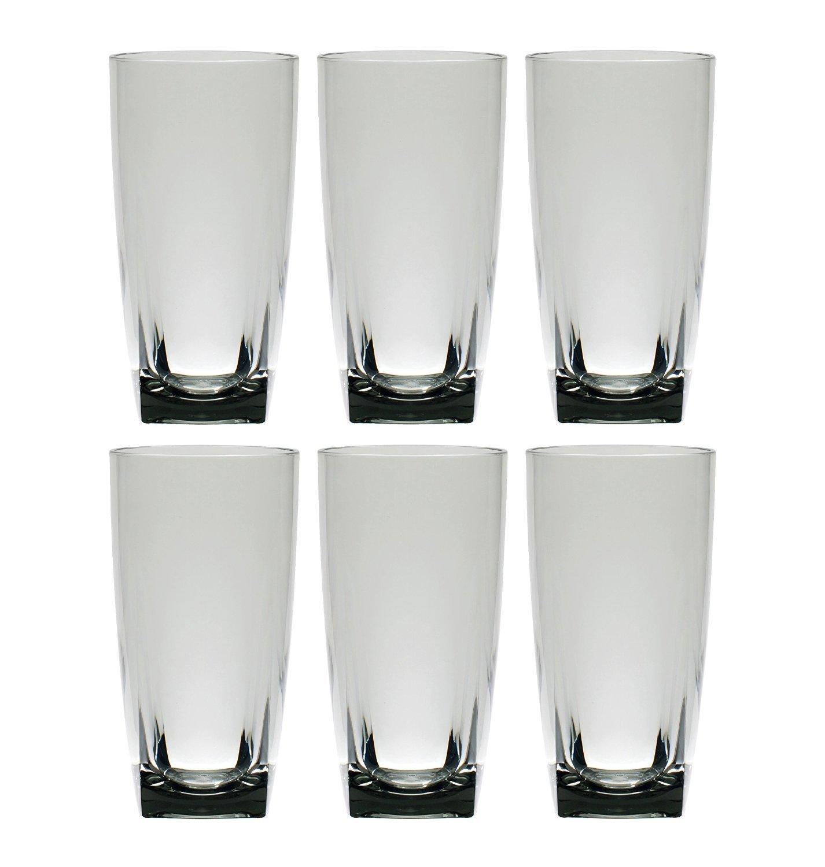 QG 6 pc Clear Smoke Light Grey Acrylic 26 oz Iced Tea Cup w/ Heavy Square Base Plastic Tumbler Set