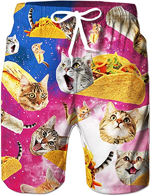 Beach Shorts Cat Kitten Cartoon Mens Swimming Pants Swimming and Other Marine Sports Suitable for Surfing