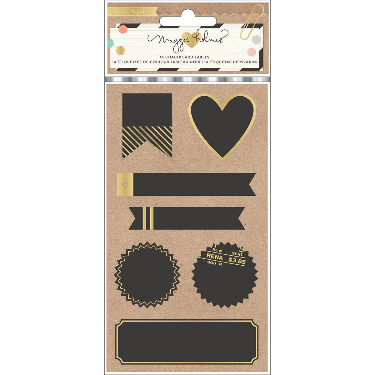 Crate Paper Maggie Holmes Confetti Chalkboard Labels with Gold American Crafts 683708