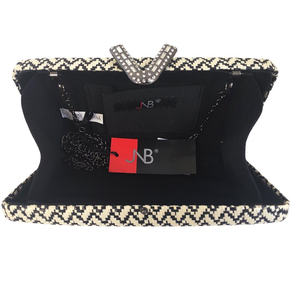 Chevron Raffia Straw Box Clutch with V Ornament