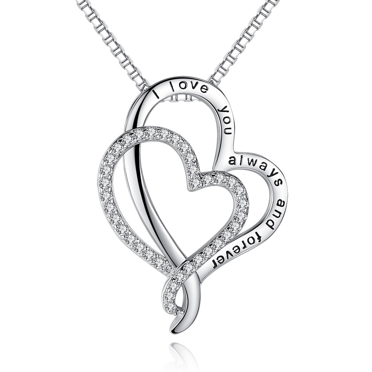 'I Love You To The Moon And Back' Love Heart Necklace Jewelry, Gifts for Women, Lover, Wife, Sweetheart