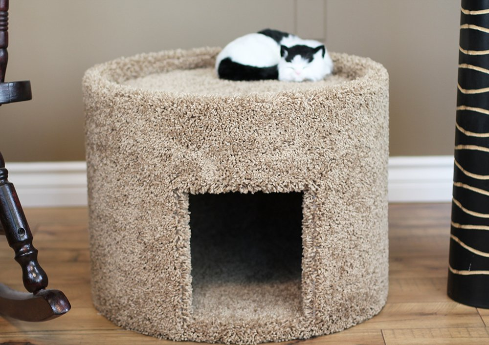 New Cat Condos X-Large Carpeted Cat Bed and House Brown