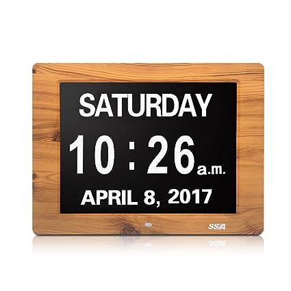 SSA Reloj digital de día calendario con gran tiempo de claridad Día y fecha de visualización