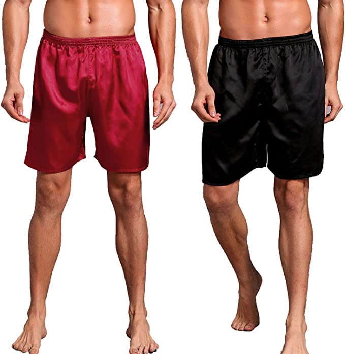 UK Mens Sleepwear Satin Silk Underwear Boxers Shorts Pants Pyjamas Nightwear