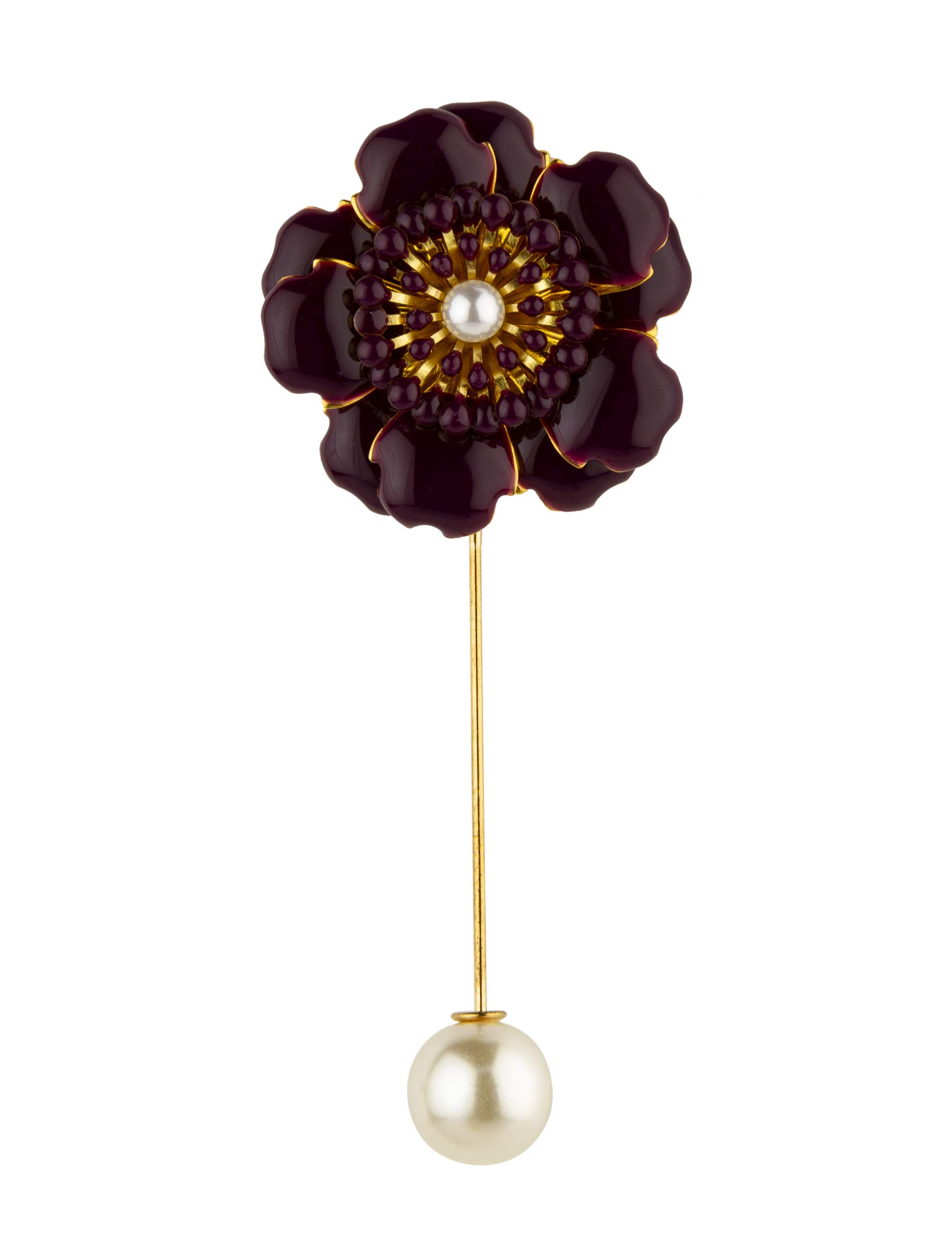 Knighthood Purple Flower with Pearl Detailing Lapel Pin/Brooch
