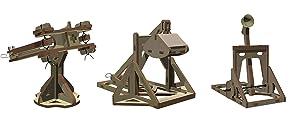 Abong Wooden Mini Medieval Desktop Warfare Model Kits to Build – Catapult, Trebuchet, and Ballista – Includes All 3 Models - STEM Model Kits